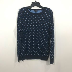 {The Limited} Wool Blend Blue Polka Dot Sweater